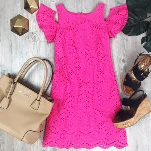 Eliza J. Hot Pink eyelet Cut Out  Scalloped Dress